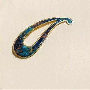 ART PARTY vintage 80s turquoise & gold enamel pin